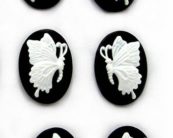 6 (3 Matching Pairs) 18mm x 13mm WHITE on Black Petite Left & Right Facing BUTTERFLY Butterflies CAMEOS Cabachons Cameo Costume Jewelry