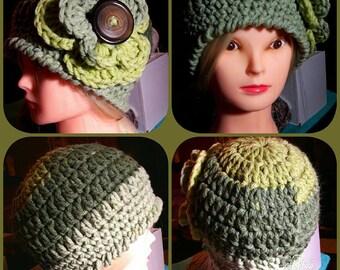 Handmade Crocheted Flower Beanie