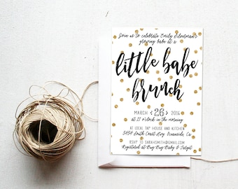 Baby Shower Brunch Invitation, Little Babe Brunch, Unique, Gold Polka Dot, Printable (500)