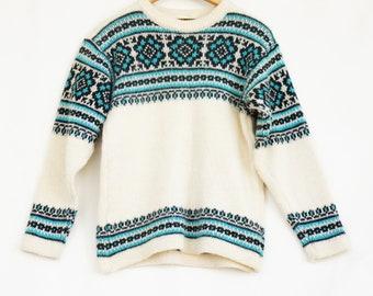 Vintage 60s-70s Norwegian Fair Isle Fisherman Wool Sweater
