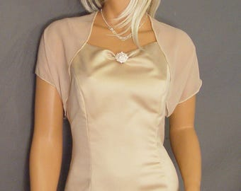 Chiffon bolero jacket bridal shrug short sleeve wedding wrap cover up CBA200 AVAILABLE IN champagne and 6 other colors. Small - Plus size!