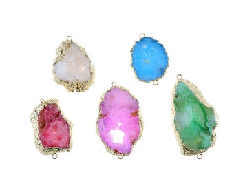 Natural Druzy Agate Pendants.Irregular Druzy Pendants.Mix color Druzy Pendants.Plated Gold Pendants. Druzy Pendants Wholesale.