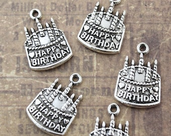 10 Happy Birthday Charms Birthday Cake Pendants Antiqued Silver Tone 15 x 20 mm