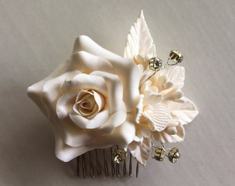 Ivory Rose Bridal Hair Comb Wedding Hair Accessories Hair Flowers Handmade Clay Flowers