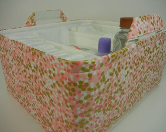 "EEx Large Long Diaper Caddy-12""W x14""D x 7""H(CHOOSE Lining COLOR)Two Dividers-Fabric Storage Organizer-Baby Gift -""Reflection Peach"""