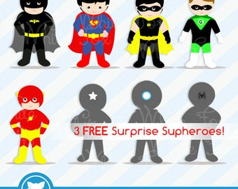 50% OFF SALE Superhero Clipart / 3 FREE Superhero / Superheroes Clip Art / Superhero Download / Item No: Superhero-B1A