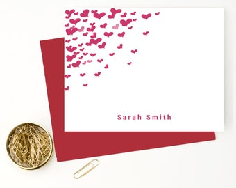 Heart personalized stationery set for girls, Personalized stationary,Modern stationery, custom stationery, folded note cards, SS202