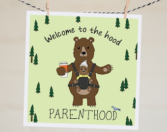 Funny Baby Shower Card | New Baby Card For Dad New Baby Gift Woodland Baby Shower Handmade Illustration Mama Bear Card Gift New Parents Card