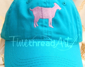 Goat Cap Hat FABRIC strap Adult or Ladies Size Farm Ranch Herd Cowgirl Cowboy Goat Lady Horse Show