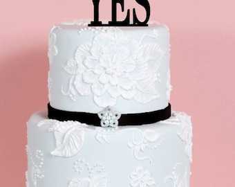 Wedding Engagement Cake Topper - She said Yes Cake Topper - Custom Cake Topper - Personalized Cake Topper -  Bride and Groom