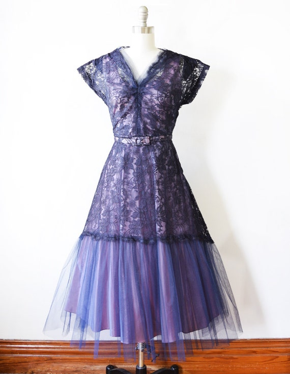 1950s party dress dress 1950s vintage lace 50s lace purple formal dress s small wqB8O