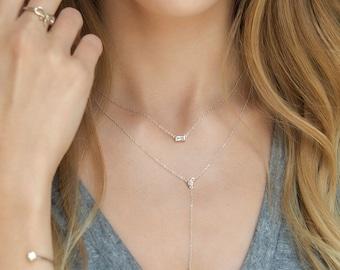 Lariat Necklace, Silver Y Necklace, Long Y Necklace, Minimal Necklace, Y Lariat Necklace, Y Necklace, Crystal Lariat Necklace, Dainty,N325-S