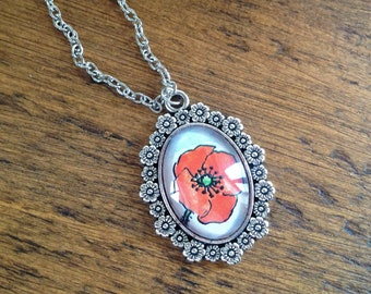 Oval, Silver coloured, Poppy Pendant, incorporating vintage 1970's illustration