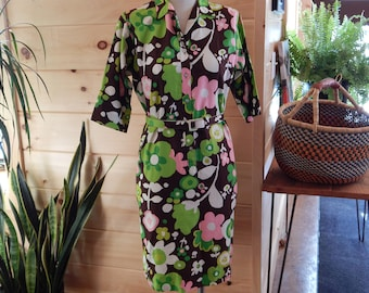 Vintage 60's Like New Tropical Print Belted Dress M-L Key Largo Brand like Lilly Pulitzer