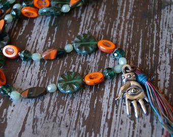 Unlisted - Seeing Eye Necklace - Hand - Boho Necklace - Green and Orange - Long Knotted Necklace - Handmade Jewelry - Bead Soup Jewelry