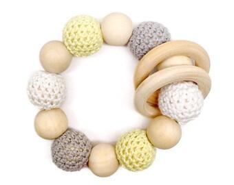 Dandelion Organic Wood Bead Teething Toy / Teething Ring / Natural Wood Teether CPSC Safe