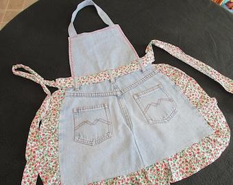 "A25 Handmade ""Cooking Britches"" Blue Denim Jeans Apron Child Children's Girls Strawberry Print Accent"