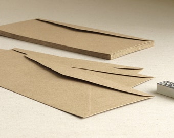 "50 DL Brown Kraft Envelopes - Triangle flap - For international A4 paper folded into third - Size: 219mm x 111mm (8 1/2"" x 4 1/4"")"