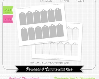 1.5 x 3 inch Hang Tag Template - INSTANT DOWNLOAD - PRINTABLE - Make your own party printables