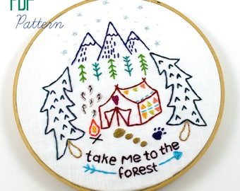 Camping. Hand Embroidery Pattern. Forest Woods. Outdoors. Glamping. Digital Pattern. Cabin. Embroidery Designs. Mountains. Tent. Outdoorsy.