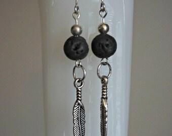 Essential Oil Diffuser Jewelry- Black Lava Rock & Silver Feather Minimalistic Earring