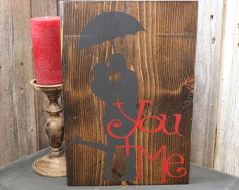 You + Me Silhouette Wooden Sign