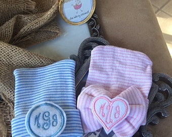 Twins Monogram initial pink and blue, coming home hat, Newborn, monogram, infant pink bow, blue striped beanie, Hospital Hat