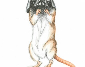 Darth Mouse greetings card for Star Trek/Rodent fans alike