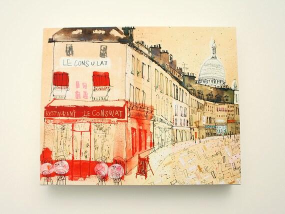 PARIS CANVAS ART Paris Restaurant French Cafe Print Mixed