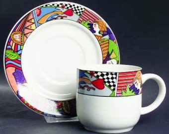 Vitromaster Metropolitan Salad Plate Coffee Tea Cup & Saucer Flour Canister Sugar Bowl 90s Discontinued Modern Abstract Art Multi Color Band
