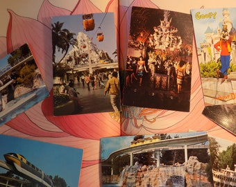 7 DISNEY vintage POSTCARD lot collection for crafting scrapping  adventure wallpapering home decorating supplies vintage road trip no 2