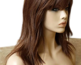 Forever Young Textured Layers Wig (Color 27A/33 Auburn Strawberry Red) Heat Safe Natural Hair | Layered Long Wavy Wig Bangs