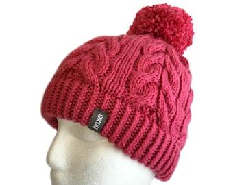 Pink Beanie / Womens Pom Pom Hat / Cute Beanie / Ski Hat / Beanie with Pom Pom / Adult Beanie / Snow Hat / Womens Winter Hat / Knitted Hats