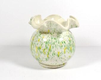 Drip Glaze Planter - Flared Rim Plant Pot - 1960s Hippie Planter Ceramic Planter Flower Pot