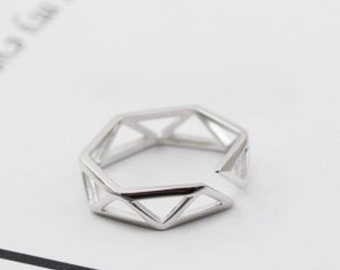 Sterling Silver Triangles Ring