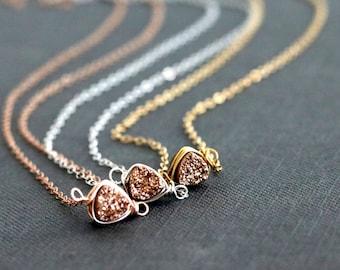 Rose gold Druzy Necklace Triangle Trillion Gold druzy pendant choker Featured on radaronline Vitrine