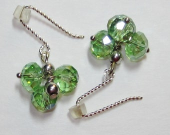 Earrings handmade,Silver earrings,,Sterling silver earrings,crystal cluster earrings, green crystal earrings,#56E