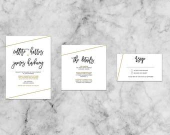 Collete Simple Gold Suite   Customized Wedding Invitation Template Set