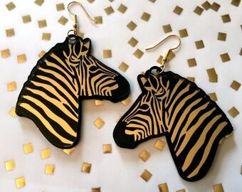 Glam Safari Black and Mirror Gold Zebra Earrings, Laser Cut Acrylic, Plastic Jewelry
