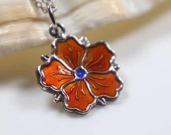 Orange Enamel Small Flower Pendant on Silver 925 Stamped Chain Necklace