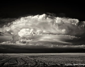 Black and White Fine Art Photo of a supercell thunderstorm in CO