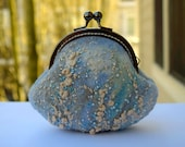 Felted Coin Purse Kiss Lock Clutch Embroidery Cosmetic Make Up Bag Change Purse and Pouch Gift for Her Blue Wool Wallet