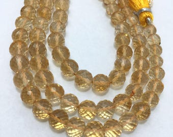 Natural Citrine Faceted Round Beads, 6mm to 7mm, 8 inches Strand, Yellow Beads, Gemstone Beads, Semiprecious Stone Beads
