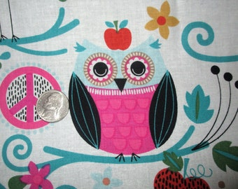 Owl Peace Signs Quilt Fabric 1 YD