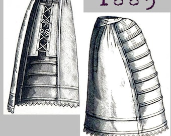 Crinoline or Bustle Petticoat - Victorian Reproduction PDF Pattern - 1880's - made from original 1885 Harper's Bazar  pattern