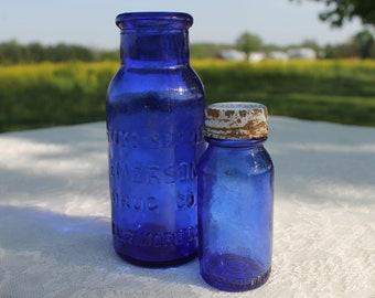 Vintage Cobalt Blue Bottles, Bromo Seltzer, Modern Farmhouse, Antique Bottles, Collectible Blue Glass, Bromo-Seltzer Bottles, Apothecary