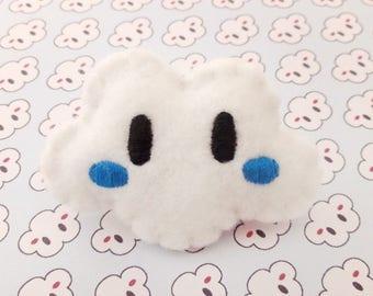 Brooch embroidered cheeks white cloud dark blue