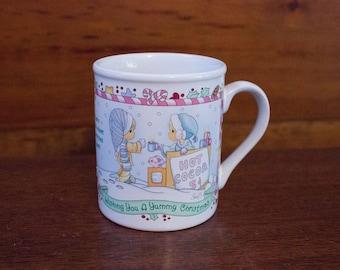 Vintage 1996 Precious Moments Yummy Christmas Hot Cocoa Mug by Enesco