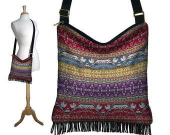 Boho Hobo Purse, Fringe Crossbody Bag, Bohemian Gypsy Boho Bag, Hippie Purse, Digital Turkish Tapestry,  Kilim Fabric, red blue purple MTO