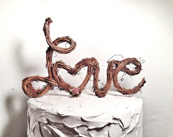Handmade Grapevine, Love Letter,  Cake Topper, Rustic Wedding Cake Topper, Natural, Handmade Cake Top